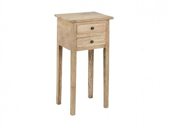 Pedestal redondo de madera estilo r stico con caj n - Mesas auxiliares pequenas ...