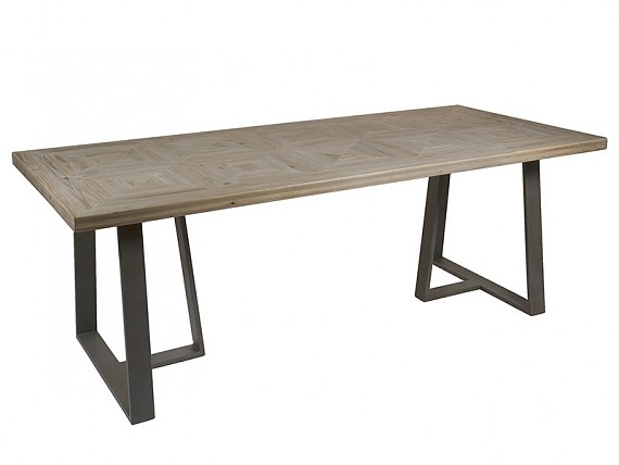 Aparador industrial decapado de madera de abeto con patas de hierro - Mesa de comedor grande ...
