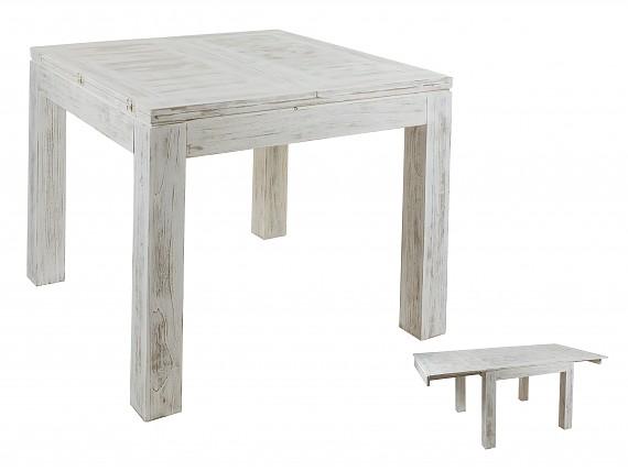 Mesa de centro decapada en blanco estilo vintage madera mindi - Mesa comedor pequena ...