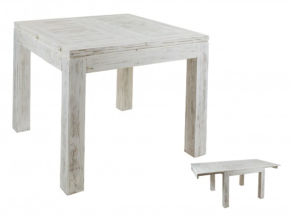 Mesa de centro decapada en blanco estilo vintage madera mindi for Mesa comedor pequena