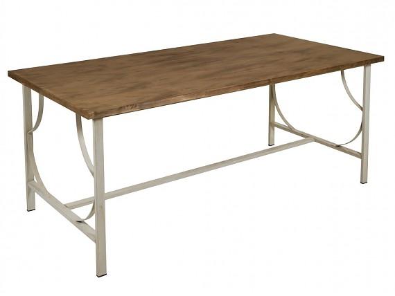Mesa tv vintage de forja y pino laminado con acabado for Mesa vintage madera