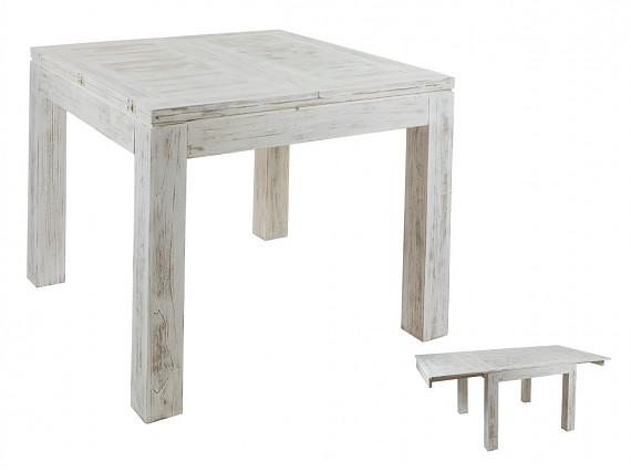 Mesa de centro decapada en blanco estilo vintage madera mindi for Mesa cuadrada extensible