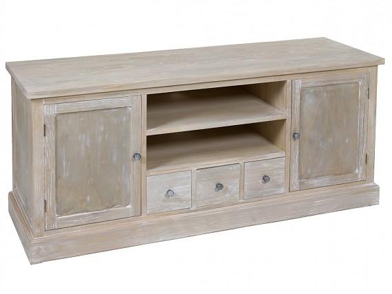 Mesa de madera vintage para comedor con acabado envejecido for Mueble tv vintage