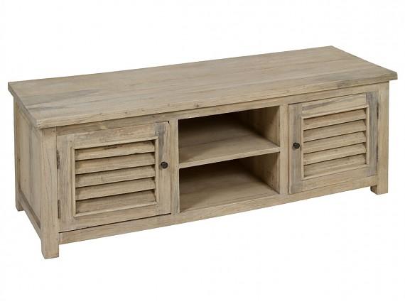 Mesa de madera vintage para comedor con acabado envejecido for Mesas de tv de diseno
