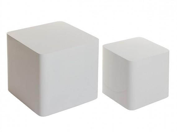 juego mesas cubo blancas lacadas