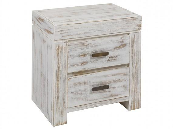 Mesa de centro decapada en blanco estilo vintage madera mindi - Mesilla de noche blanca ...