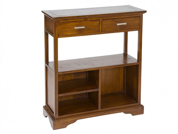 Estanter a peque a y estrecha con 3 m dulos de madera - Muebles auxiliares de salon ...