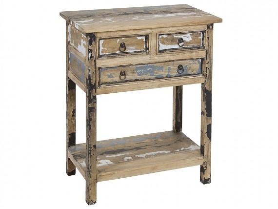 Escritorio isabelino colonial madera de acacia color nogal for Mueble auxiliar pequeno