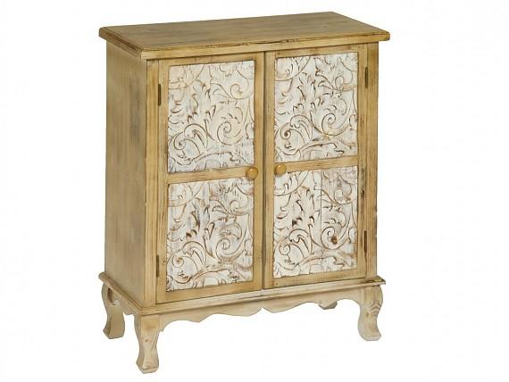 Aparador vintage peque o de madera con acabado envejecido for Armario madera natural
