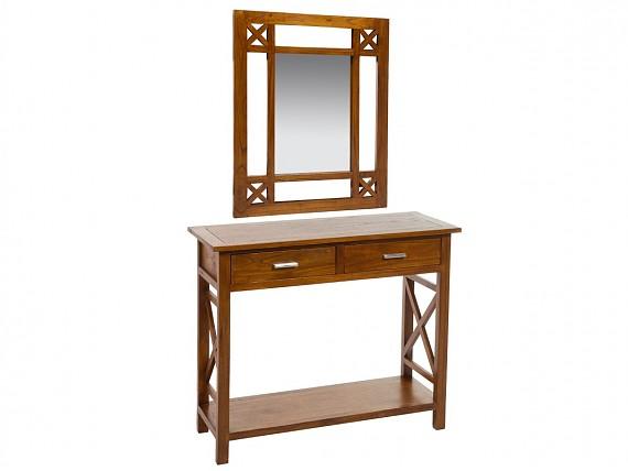 Recibidor con espejo de madera de acacia estilo colonial for Mesa para recibidor