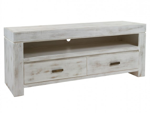 Mueble TV blanco decapado Old