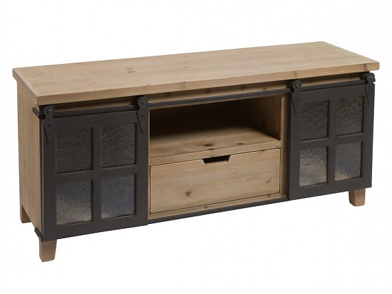 Mueble TV loft industrial de madera y hierro Fabric