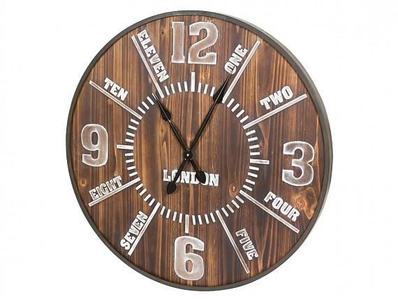 Banqueta de madera estilo r stico para recibidor o sal n for Reloj pared estilo industrial