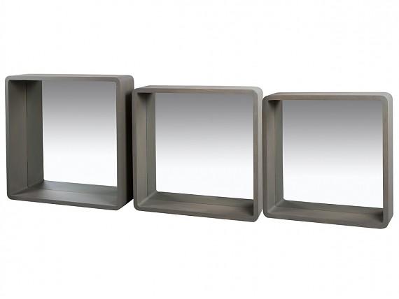 Espejos de madera espejo con marco de madera for Conjunto de espejos decorativos