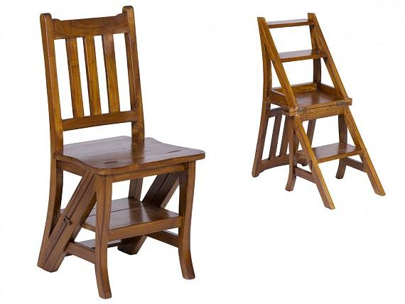 Vitrina vintage de madera color roble comprar vitrinas for Banqueta escalera plegable
