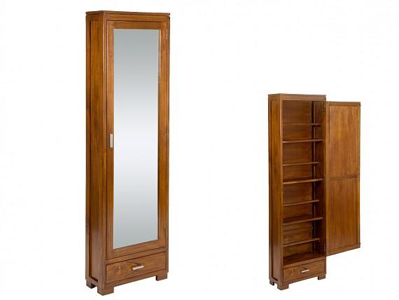armario zapatero alto y estrecho con espejo y caj n colonial