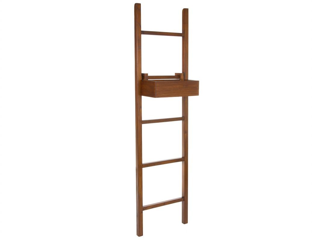 Toallero escalera de madera con estante para cuarto de ba o for Cuelga toallas bano
