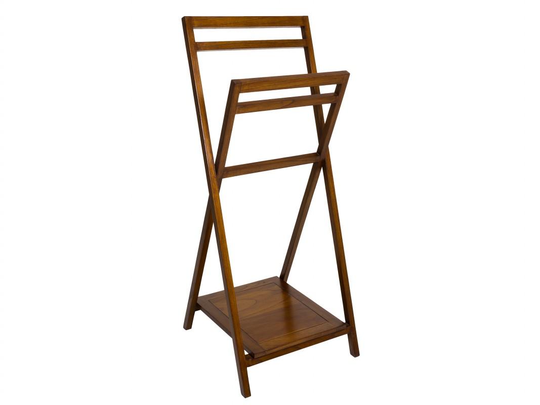 Toallero pie ba o plegable de madera de acacia estilo colonial - Toalleros de madera para bano ...