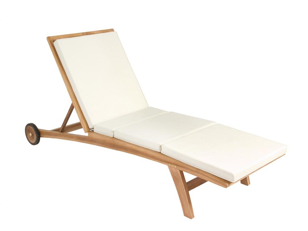 tumbona de teca con cojn blanco y ruedas - Tumbonas De Jardin