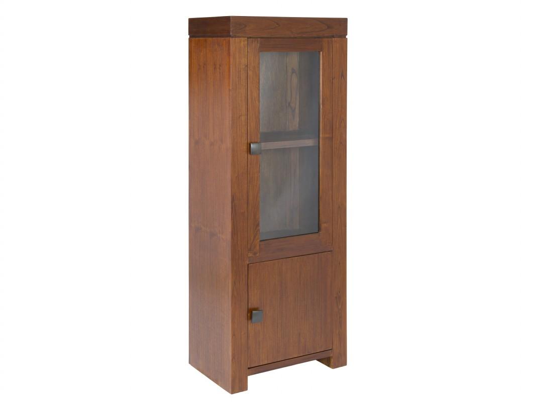 Vitrina estrecha estilo colonial en madera y cristal - Vitrinas pequenas ...