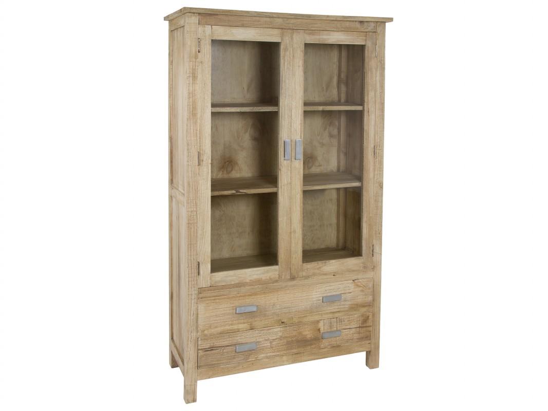 Vitrina de madera natural envejecida estilo r stico - Vitrinas para casa ...