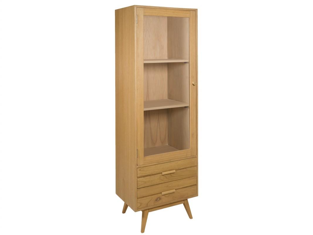 Vitrina roble pequeña de madera de mindi con puerta acristalada