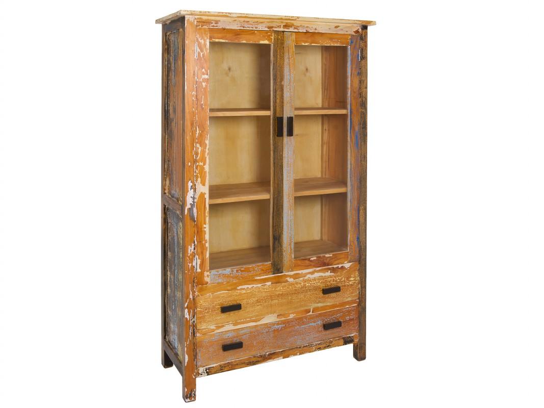 Alacena industrial de colores en madera decapada for Vitrina estilo industrial