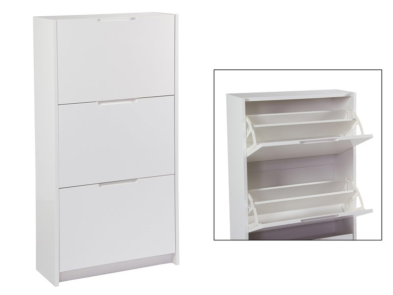 Zapatero blanco disposici n vertical 3 puertas abatibles for Zapatero blanco barato