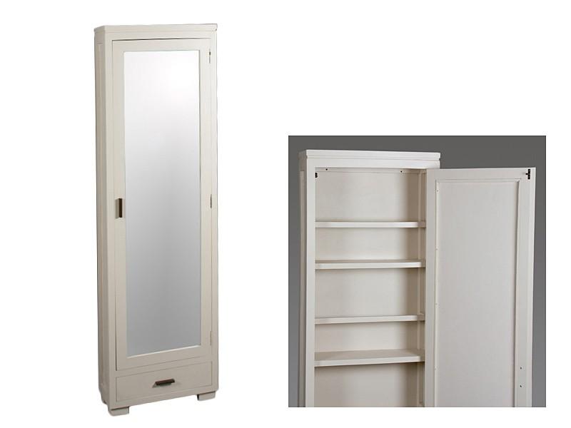 Zapatero beige estrecho de madera de acacia con espejo - Mueble zapatero estrecho ...