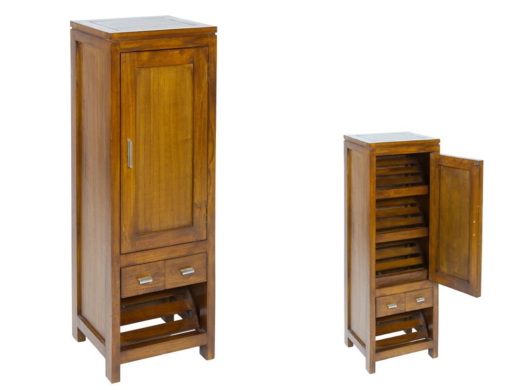 Zapatero estrecho de madera con puerta y cajones zapateros for Mueble recibidor madera