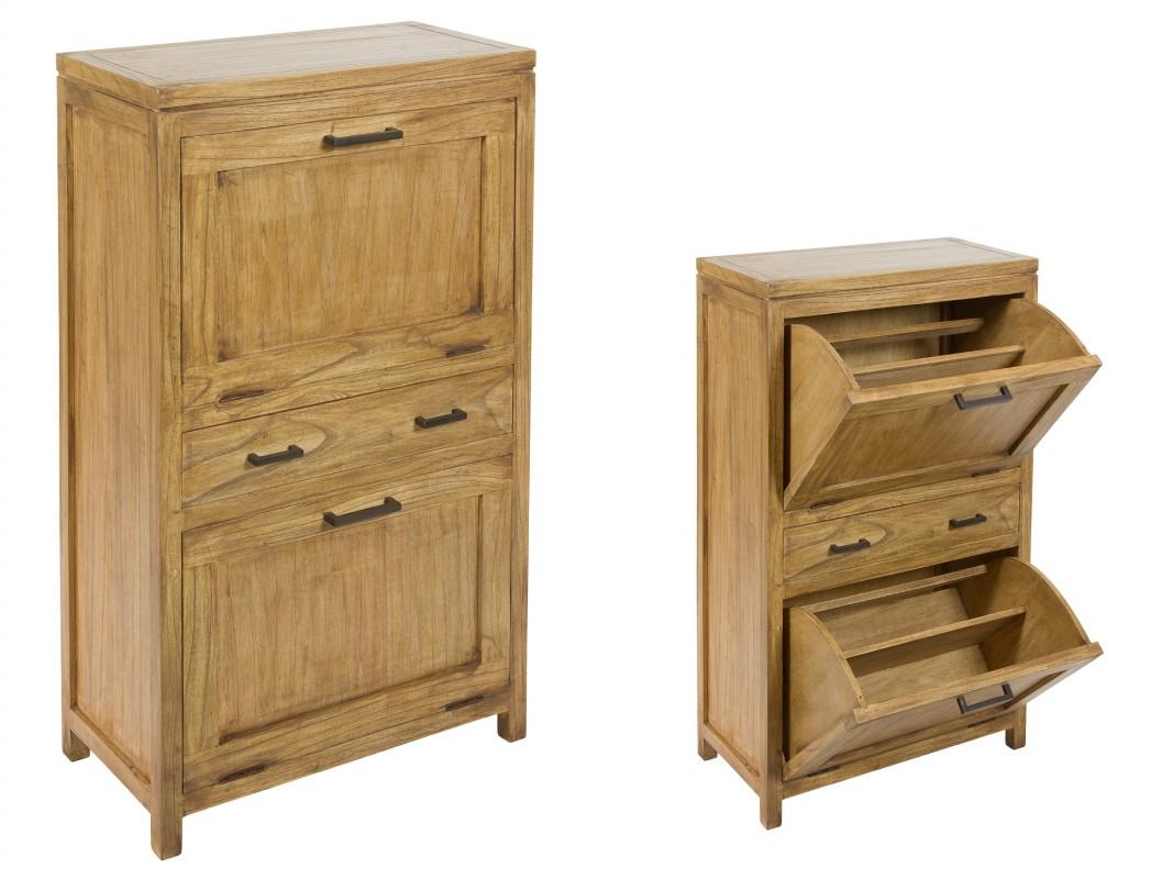 Zapatero rustico de madera natural venta zapateros online for Zapatero color madera