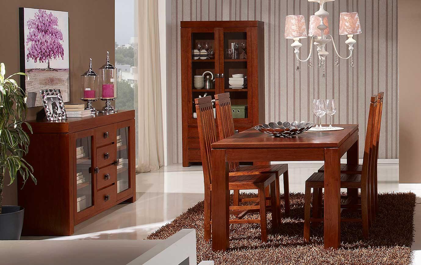 Muebles coloniales modernos de madera color nogal ...